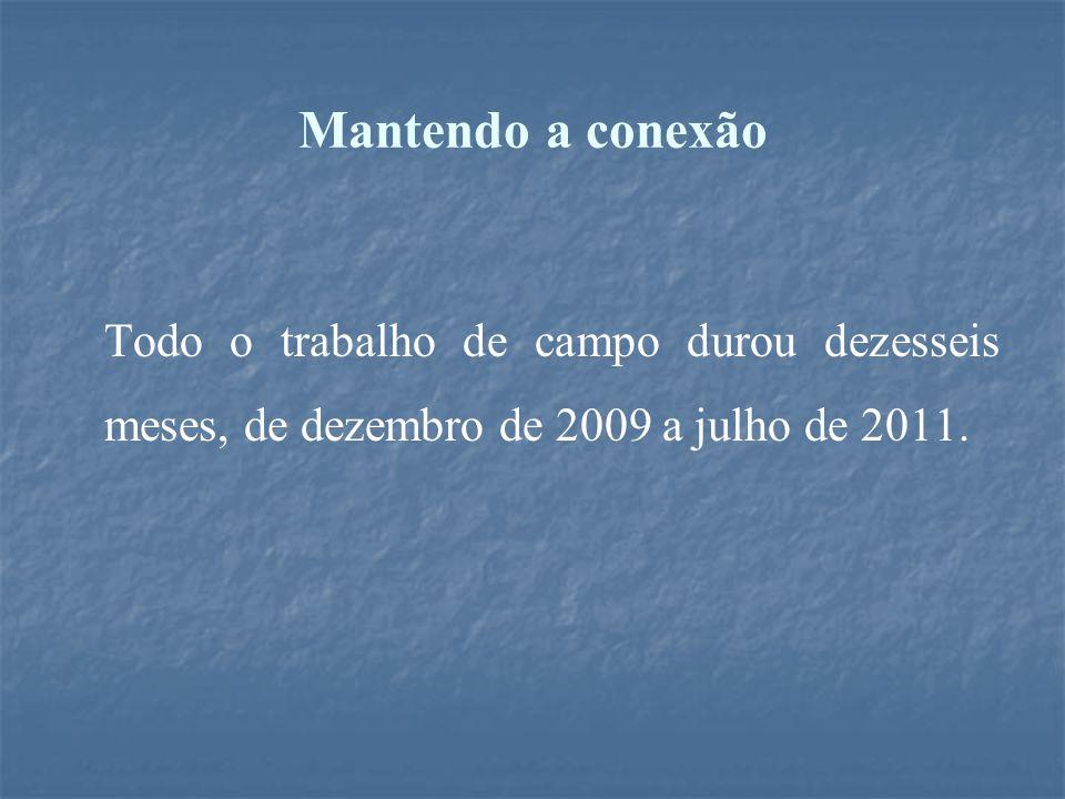Mantendo a conexão Todo o trabalho de campo durou dezesseis meses, de dezembro de 2009 a julho de 2011.