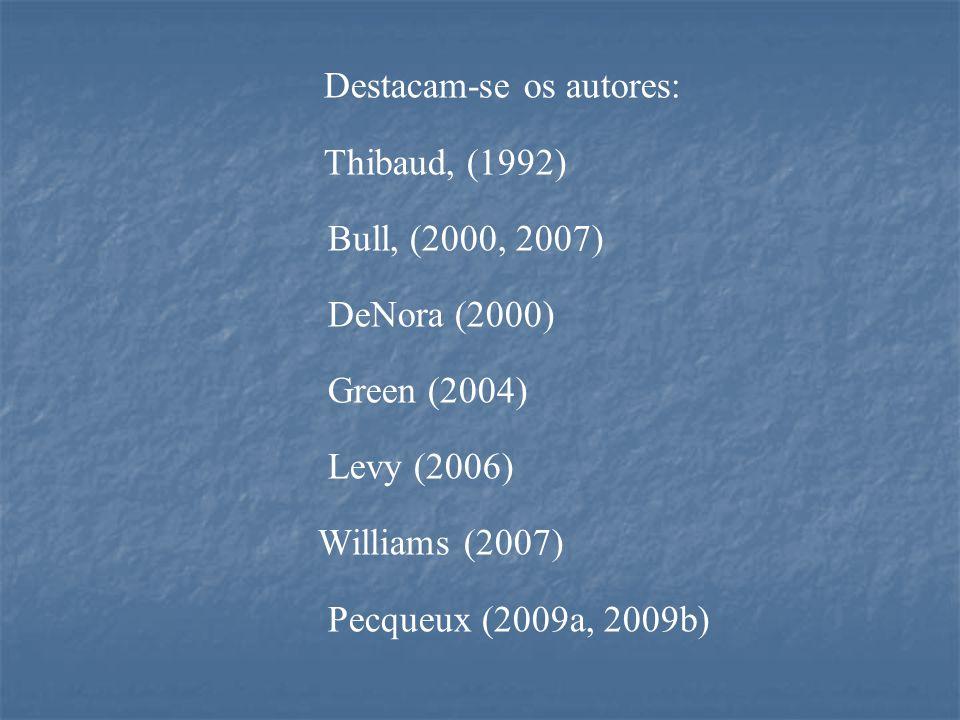 Destacam-se os autores: Thibaud, (1992) Bull, (2000, 2007) DeNora (2000) Green (2004) Levy (2006) Williams (2007) Pecqueux (2009a, 2009b)