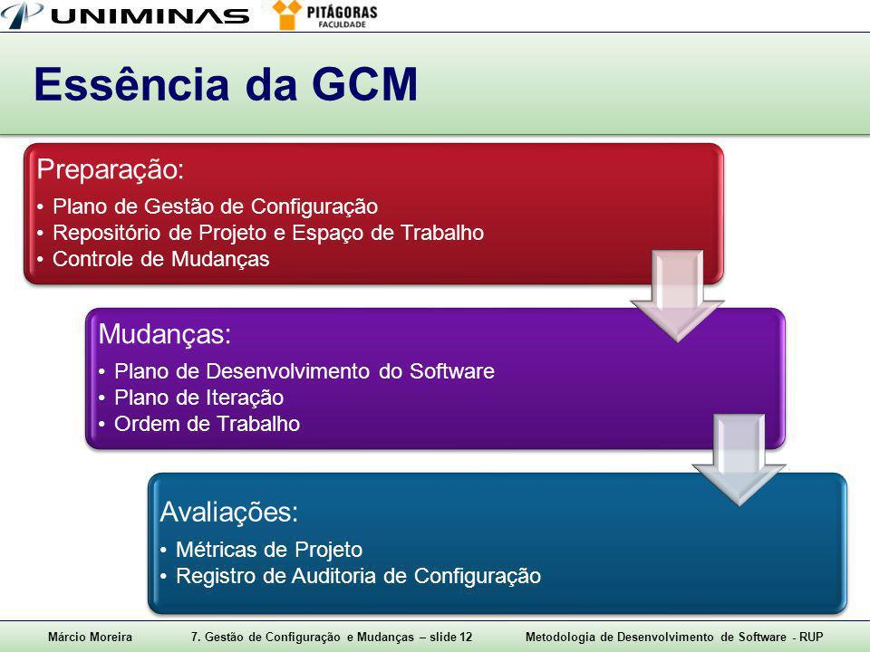 Márcio Moreira7. Gestão de Configuração e Mudanças – slide 12Metodologia de Desenvolvimento de Software - RUP Essência da GCM Preparação: Plano de Ges