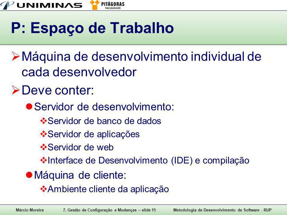 Márcio Moreira7. Gestão de Configuração e Mudanças – slide 15Metodologia de Desenvolvimento de Software - RUP P: Espaço de Trabalho  Máquina de desen