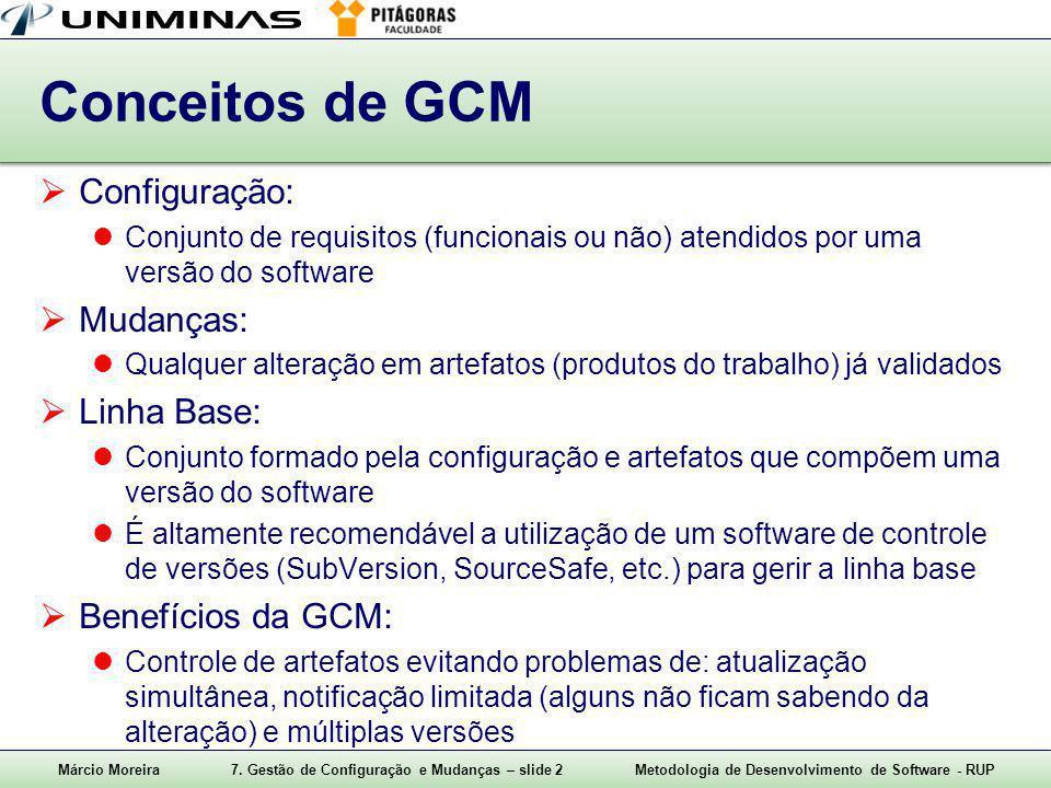 Márcio Moreira7. Gestão de Configuração e Mudanças – slide 2Metodologia de Desenvolvimento de Software - RUP Conceitos de GCM  Configuração: Conjunto