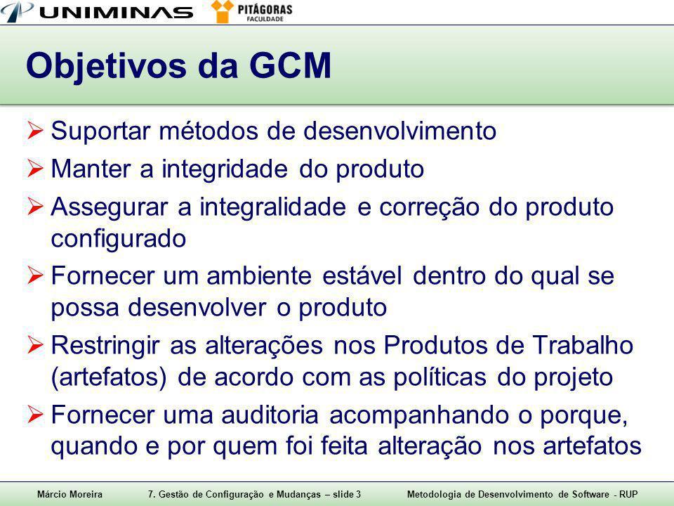 Márcio Moreira7. Gestão de Configuração e Mudanças – slide 3Metodologia de Desenvolvimento de Software - RUP Objetivos da GCM  Suportar métodos de de