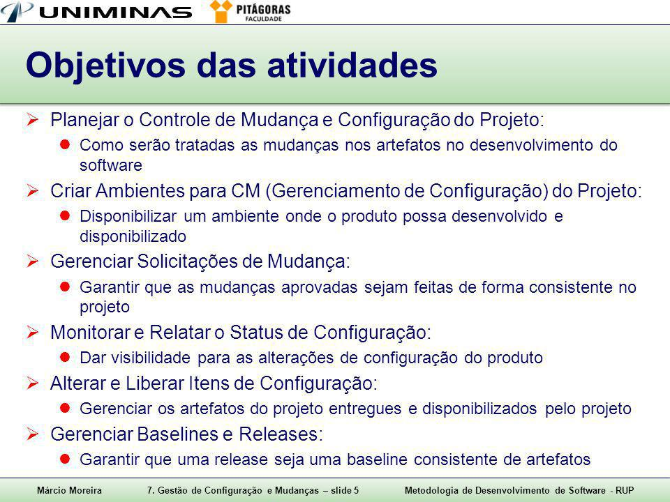 Márcio Moreira7. Gestão de Configuração e Mudanças – slide 5Metodologia de Desenvolvimento de Software - RUP Objetivos das atividades  Planejar o Con