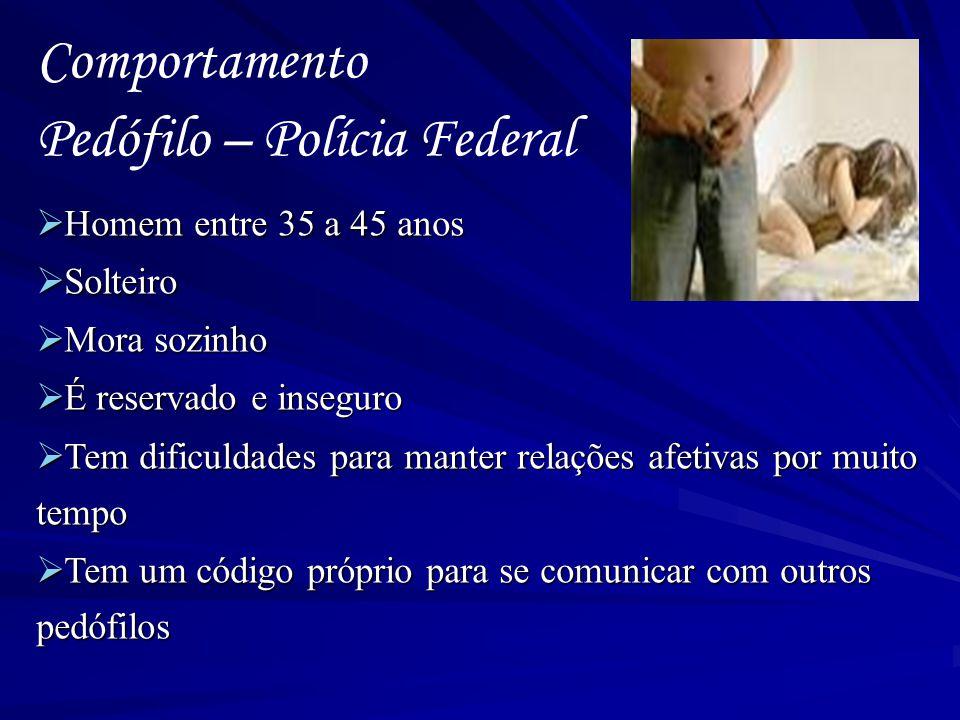 Comportamento Pedófilo – Polícia Federal  Homem entre 35 a 45 anos  Solteiro  Mora sozinho  É reservado e inseguro  Tem dificuldades para manter