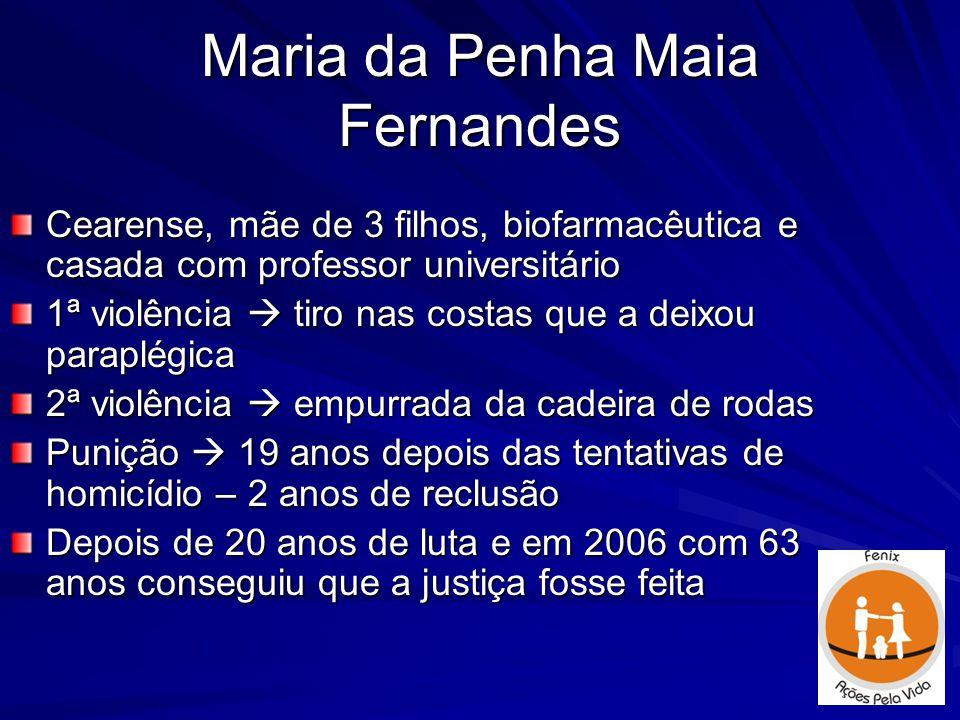 Maria da Penha Maia Fernandes Cearense, mãe de 3 filhos, biofarmacêutica e casada com professor universitário 1ª violência  tiro nas costas que a dei