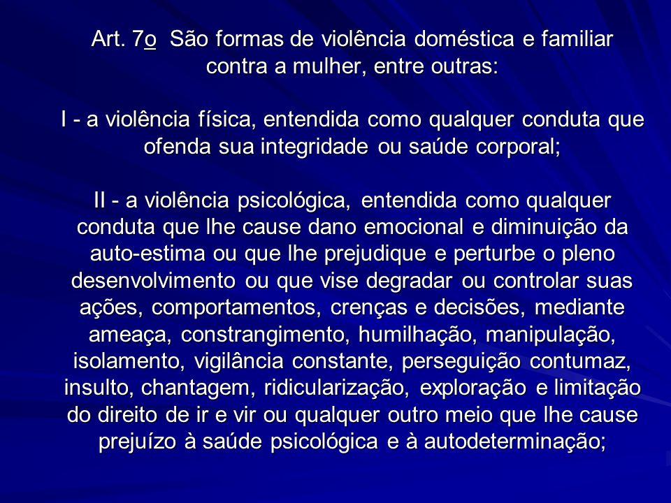 Art. 7o São formas de violência doméstica e familiar contra a mulher, entre outras: I - a violência física, entendida como qualquer conduta que ofenda