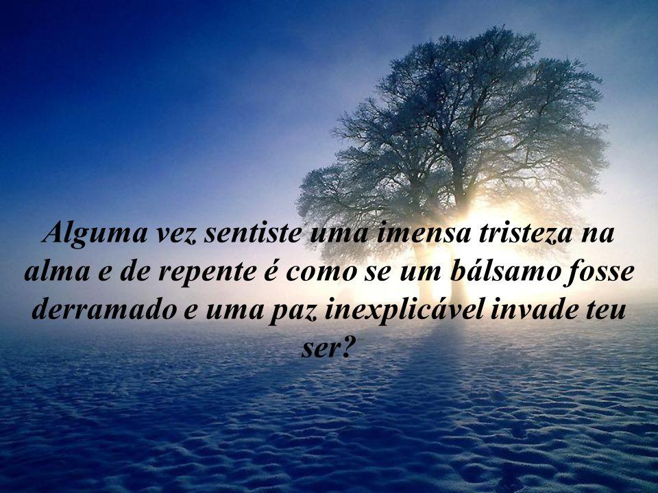 Alguma vez sentiste uma imensa tristeza na alma e de repente é como se um bálsamo fosse derramado e uma paz inexplicável invade teu ser?