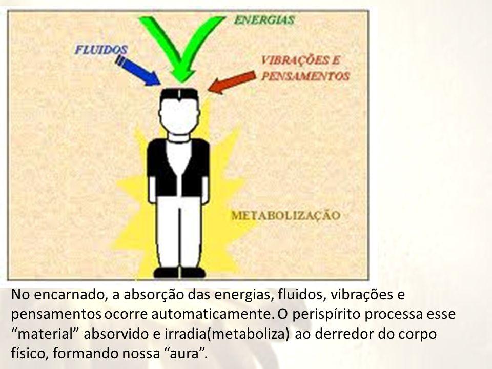 """No encarnado, a absorção das energias, fluidos, vibrações e pensamentos ocorre automaticamente. O perispírito processa esse """"material"""" absorvido e irr"""