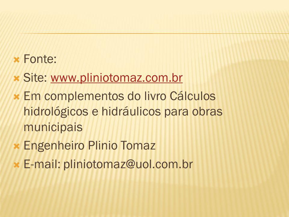  Fonte:  Site: www.pliniotomaz.com.brwww.pliniotomaz.com.br  Em complementos do livro Cálculos hidrológicos e hidráulicos para obras municipais  E