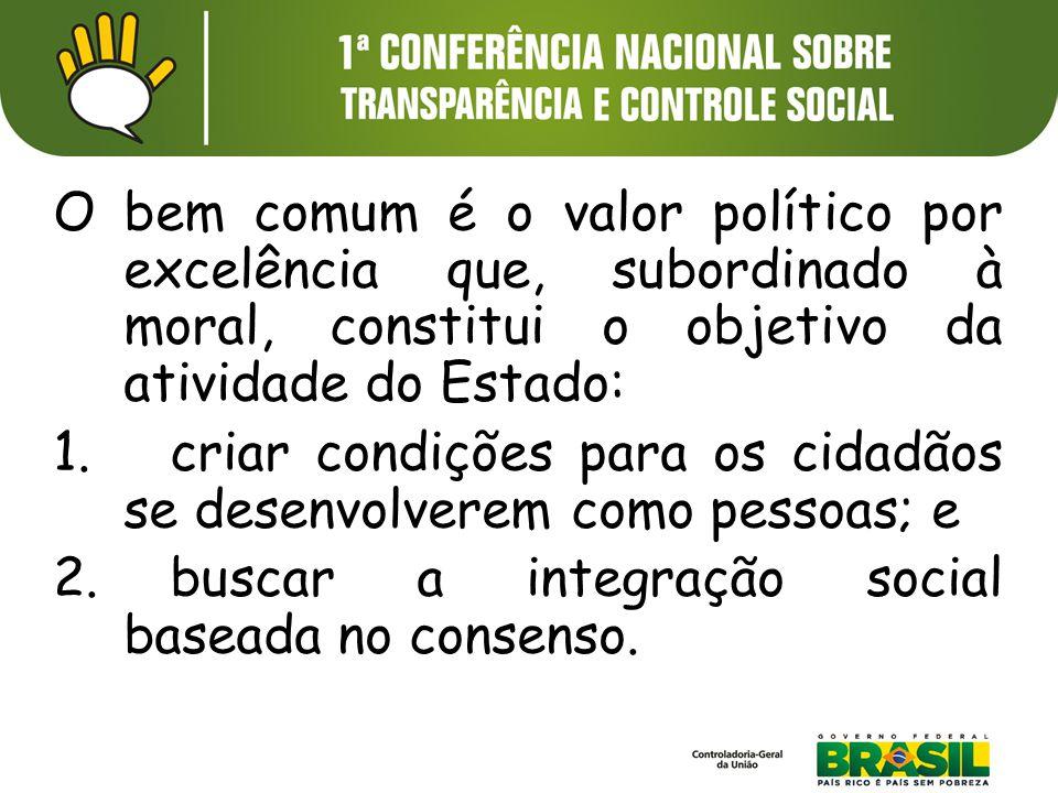O bem comum é o valor político por excelência que, subordinado à moral, constitui o objetivo da atividade do Estado: 1. criar condições para os cidadã
