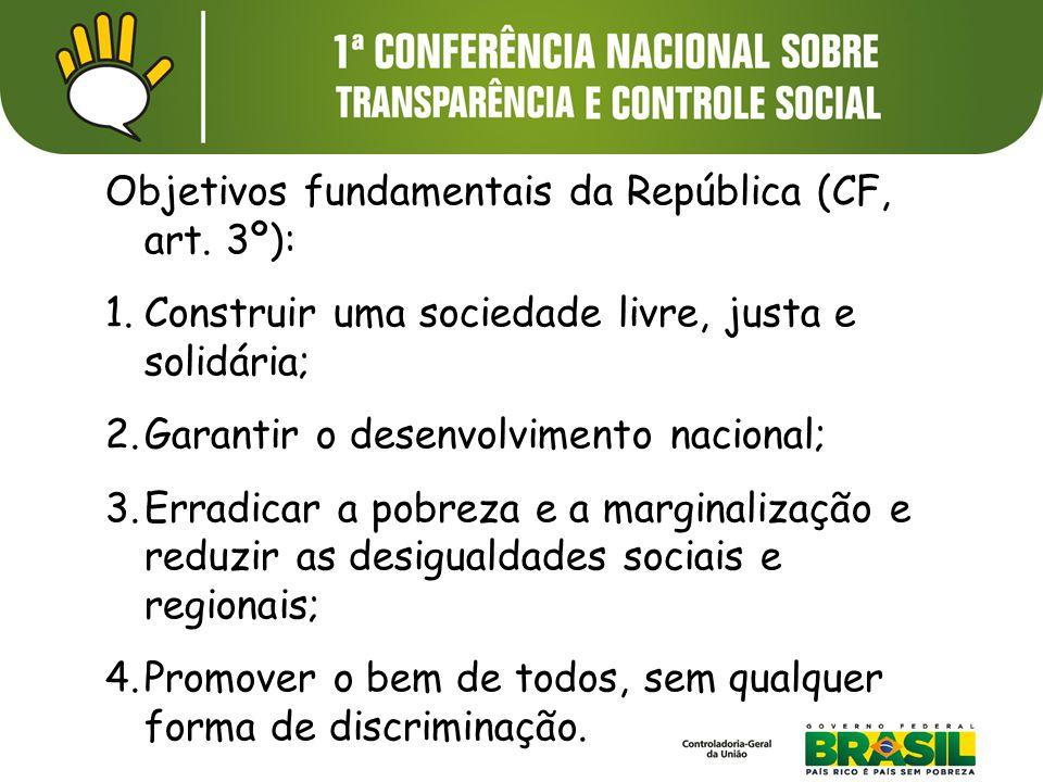 Objetivos fundamentais da República (CF, art. 3º): 1.Construir uma sociedade livre, justa e solidária; 2.Garantir o desenvolvimento nacional; 3.Erradi