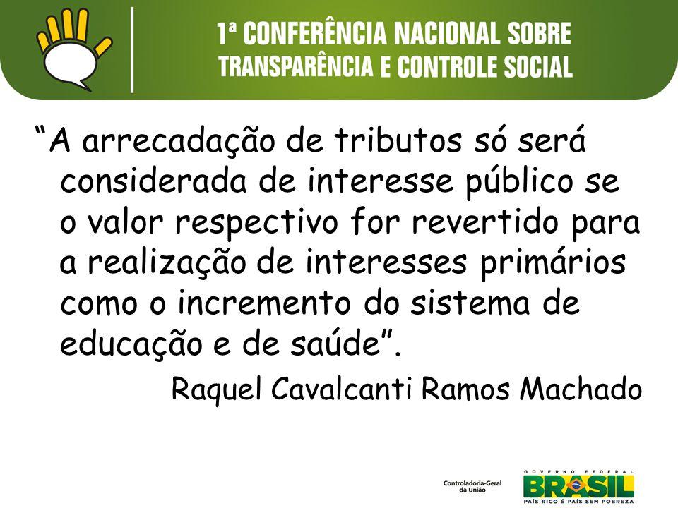 """""""A arrecadação de tributos só será considerada de interesse público se o valor respectivo for revertido para a realização de interesses primários como"""