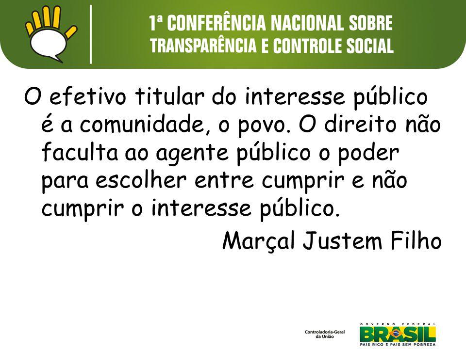 O efetivo titular do interesse público é a comunidade, o povo. O direito não faculta ao agente público o poder para escolher entre cumprir e não cumpr