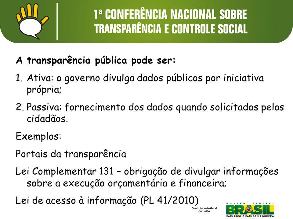 A transparência pública pode ser: 1.Ativa: o governo divulga dados públicos por iniciativa própria; 2.Passiva: fornecimento dos dados quando solicitados pelos cidadãos.
