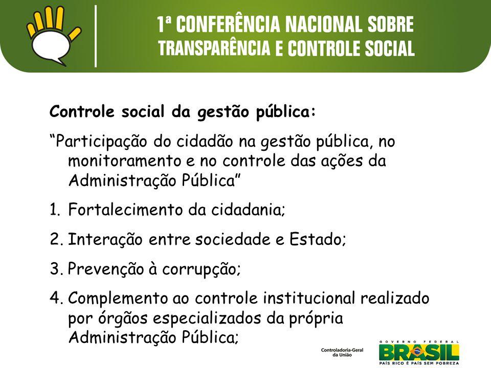 """Controle social da gestão pública: """"Participação do cidadão na gestão pública, no monitoramento e no controle das ações da Administração Pública"""" 1.Fo"""