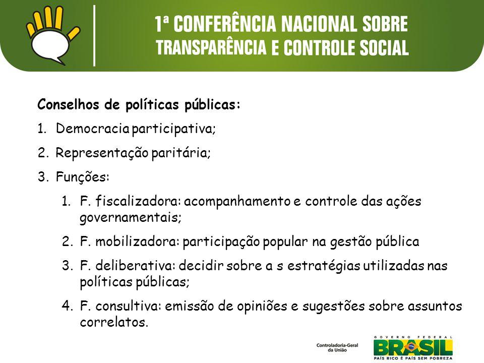 Conselhos de políticas públicas: 1.Democracia participativa; 2.Representação paritária; 3.Funções: 1.F. fiscalizadora: acompanhamento e controle das a