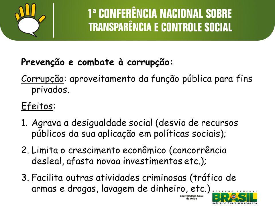 Prevenção e combate à corrupção: Corrupção: aproveitamento da função pública para fins privados. Efeitos: 1.Agrava a desigualdade social (desvio de re