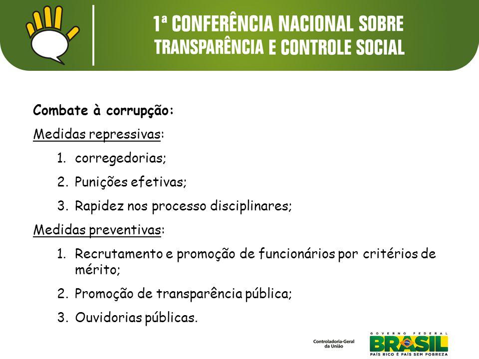 Combate à corrupção: Medidas repressivas: 1.corregedorias; 2.Punições efetivas; 3.Rapidez nos processo disciplinares; Medidas preventivas: 1.Recrutame