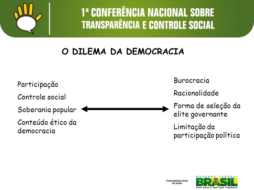 Participação Controle social Soberania popular Conteúdo ético da democracia Burocracia Racionalidade Forma de seleção da elite governante Limitação da