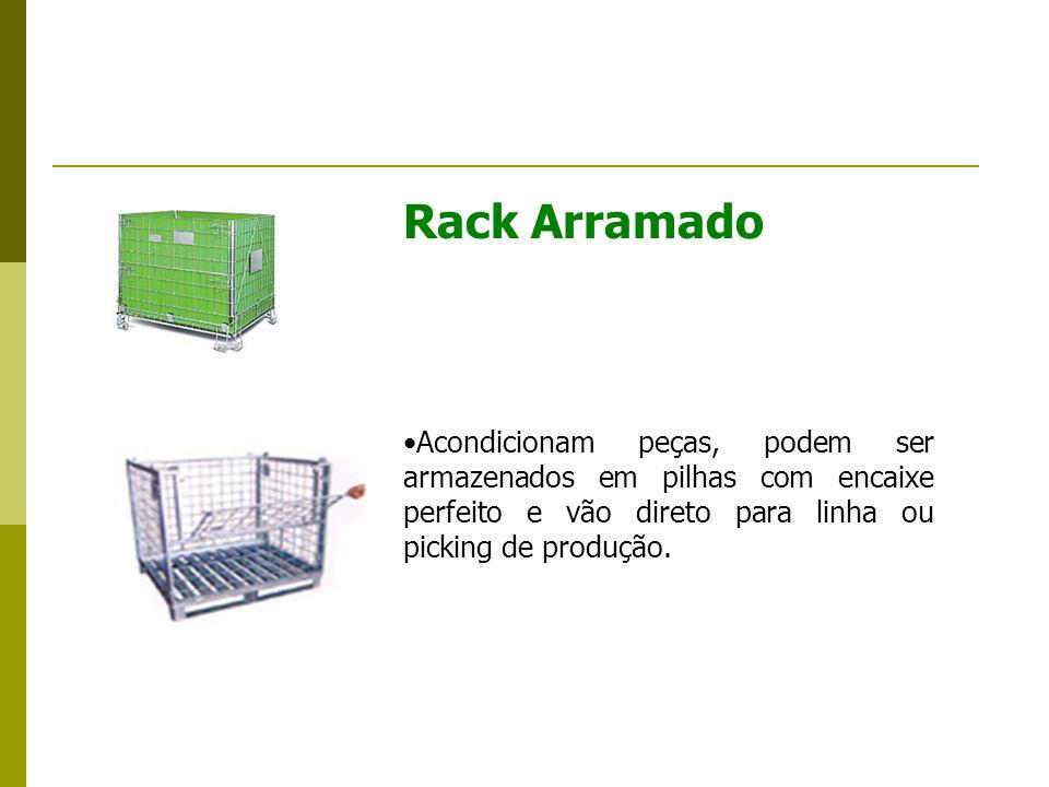 Rack Arramado Acondicionam peças, podem ser armazenados em pilhas com encaixe perfeito e vão direto para linha ou picking de produção.