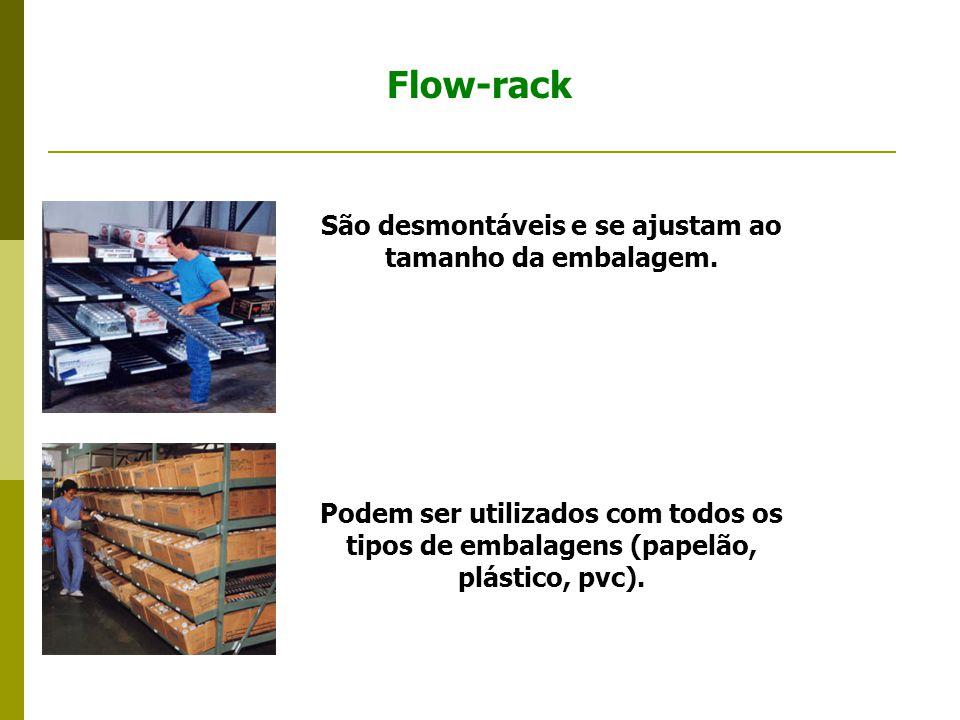 Flow-rack São desmontáveis e se ajustam ao tamanho da embalagem.