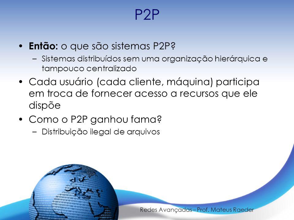 Redes Avançadas – Prof. Mateus Raeder P2P Então: o que são sistemas P2P.