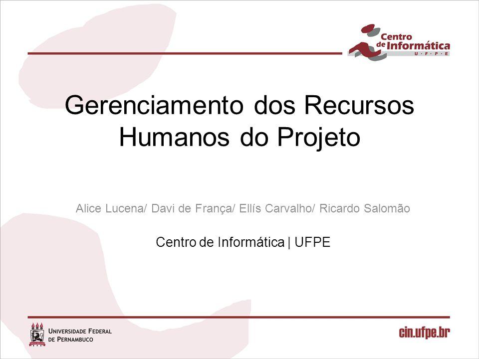 Gerenciamento dos Recursos Humanos do Projeto Alice Lucena/ Davi de França/ Ellís Carvalho/ Ricardo Salomão Centro de Informática   UFPE
