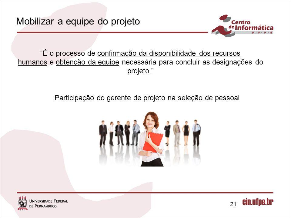 21 É o processo de confirmação da disponibilidade dos recursos humanos e obtenção da equipe necessária para concluir as designações do projeto. Participação do gerente de projeto na seleção de pessoal Mobilizar a equipe do projeto