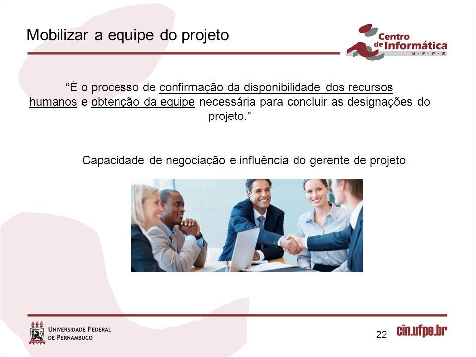 22 É o processo de confirmação da disponibilidade dos recursos humanos e obtenção da equipe necessária para concluir as designações do projeto. Capacidade de negociação e influência do gerente de projeto Mobilizar a equipe do projeto