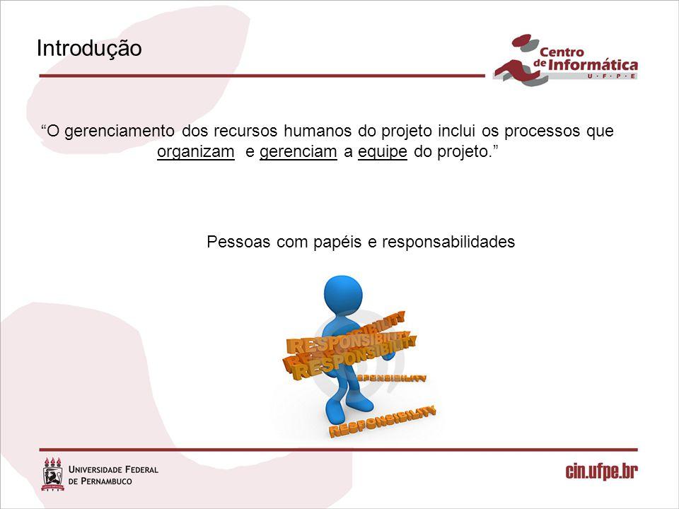 Introdução O gerenciamento dos recursos humanos do projeto inclui os processos que organizam e gerenciam a equipe do projeto. Pessoas com papéis e responsabilidades