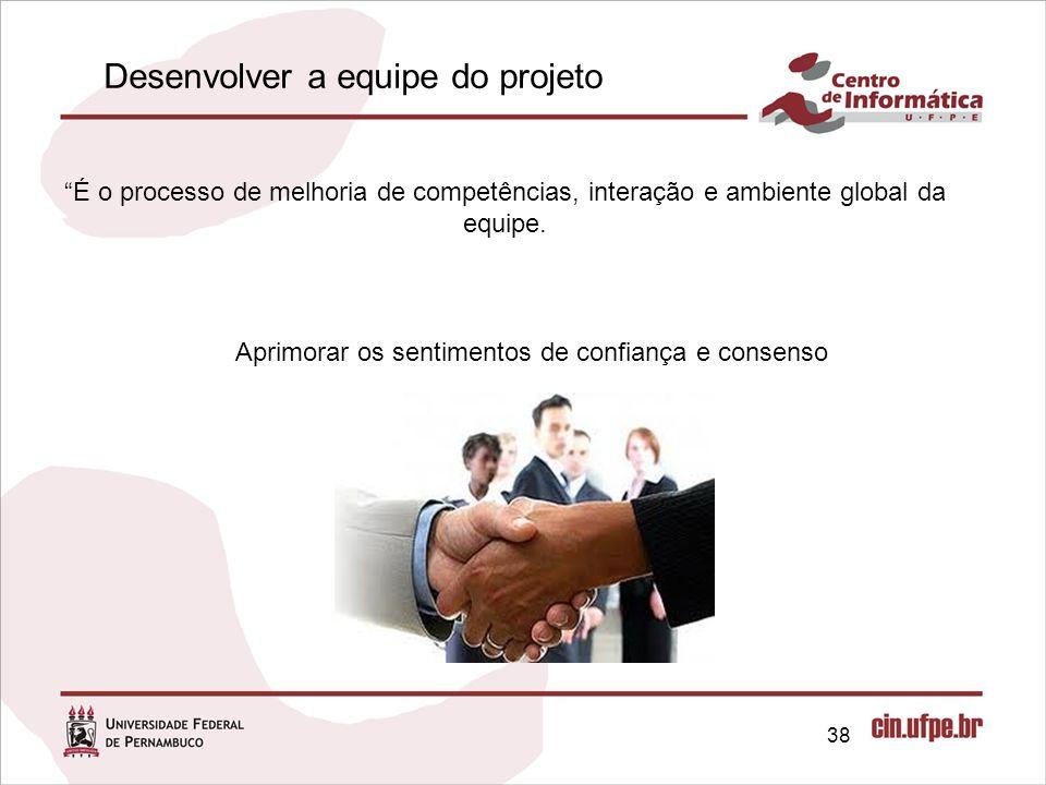 38 É o processo de melhoria de competências, interação e ambiente global da equipe.