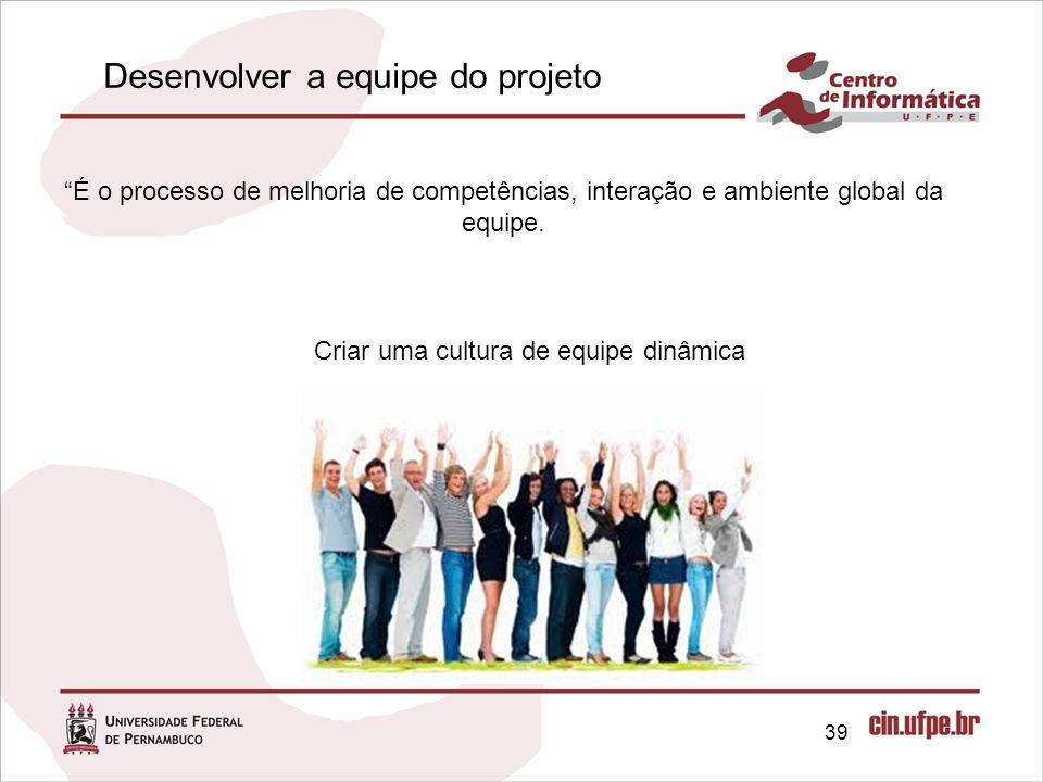 39 É o processo de melhoria de competências, interação e ambiente global da equipe.