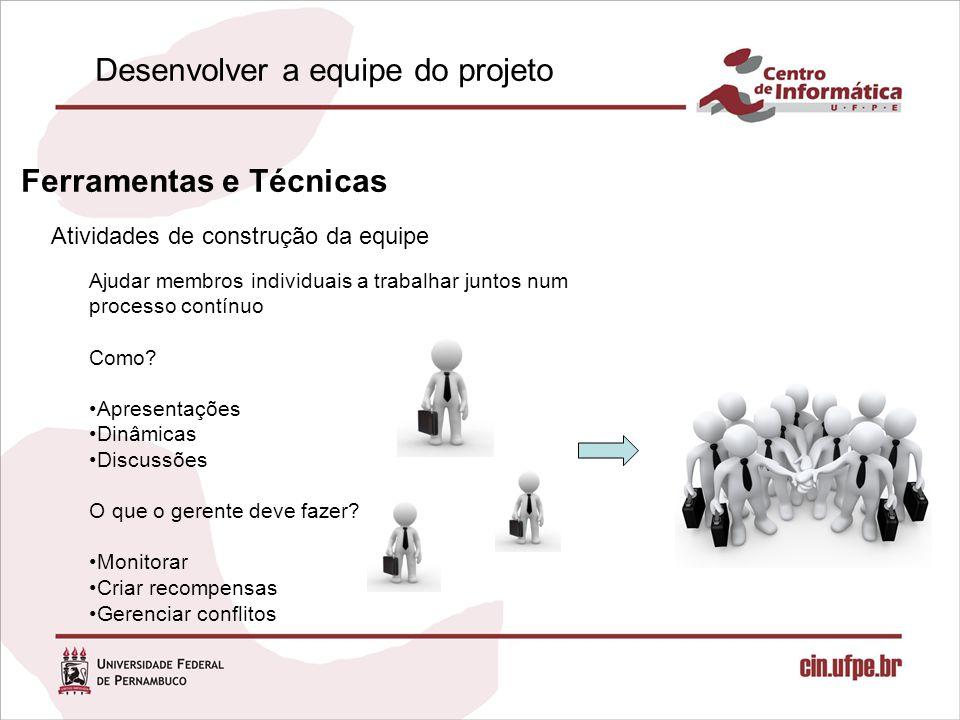 Atividades de construção da equipe Ferramentas e Técnicas Ajudar membros individuais a trabalhar juntos num processo contínuo Como.
