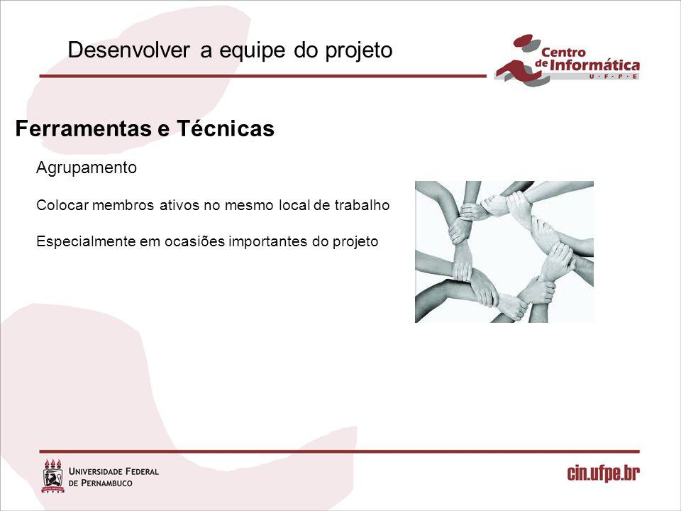 Agrupamento Ferramentas e Técnicas Colocar membros ativos no mesmo local de trabalho Especialmente em ocasiões importantes do projeto Desenvolver a equipe do projeto