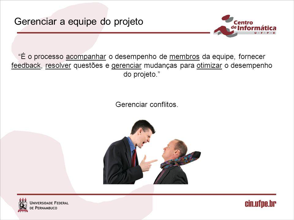 É o processo acompanhar o desempenho de membros da equipe, fornecer feedback, resolver questões e gerenciar mudanças para otimizar o desempenho do projeto. Gerenciar conflitos.
