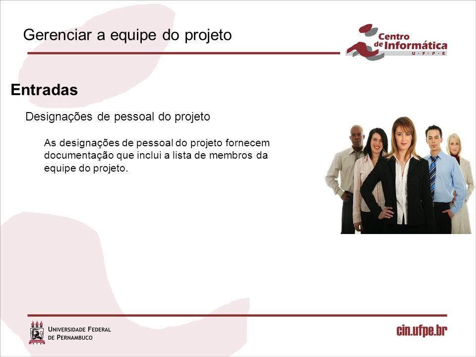 Designações de pessoal do projeto Entradas As designações de pessoal do projeto fornecem documentação que inclui a lista de membros da equipe do projeto.