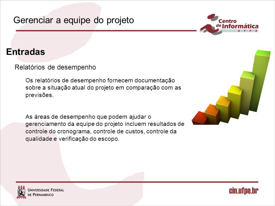 Relatórios de desempenho Entradas Os relatórios de desempenho fornecem documentação sobre a situação atual do projeto em comparação com as previsões.