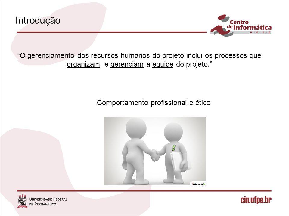 Introdução O gerenciamento dos recursos humanos do projeto inclui os processos que organizam e gerenciam a equipe do projeto. Comportamento profissional e ético