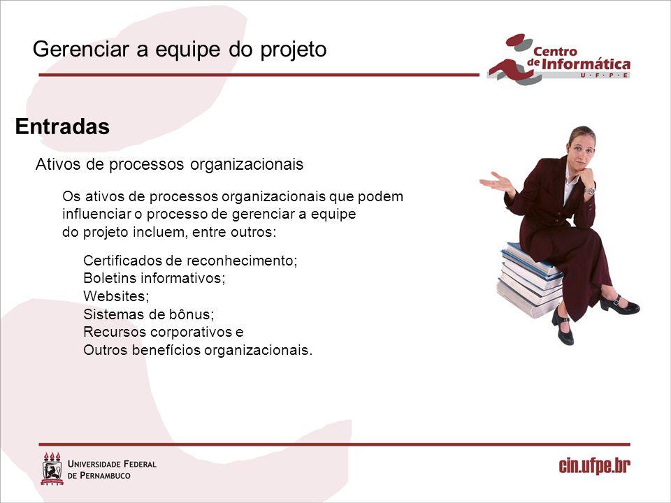 Ativos de processos organizacionais Entradas Os ativos de processos organizacionais que podem influenciar o processo de gerenciar a equipe do projeto incluem, entre outros: Certificados de reconhecimento; Boletins informativos; Websites; Sistemas de bônus; Recursos corporativos e Outros benefícios organizacionais.