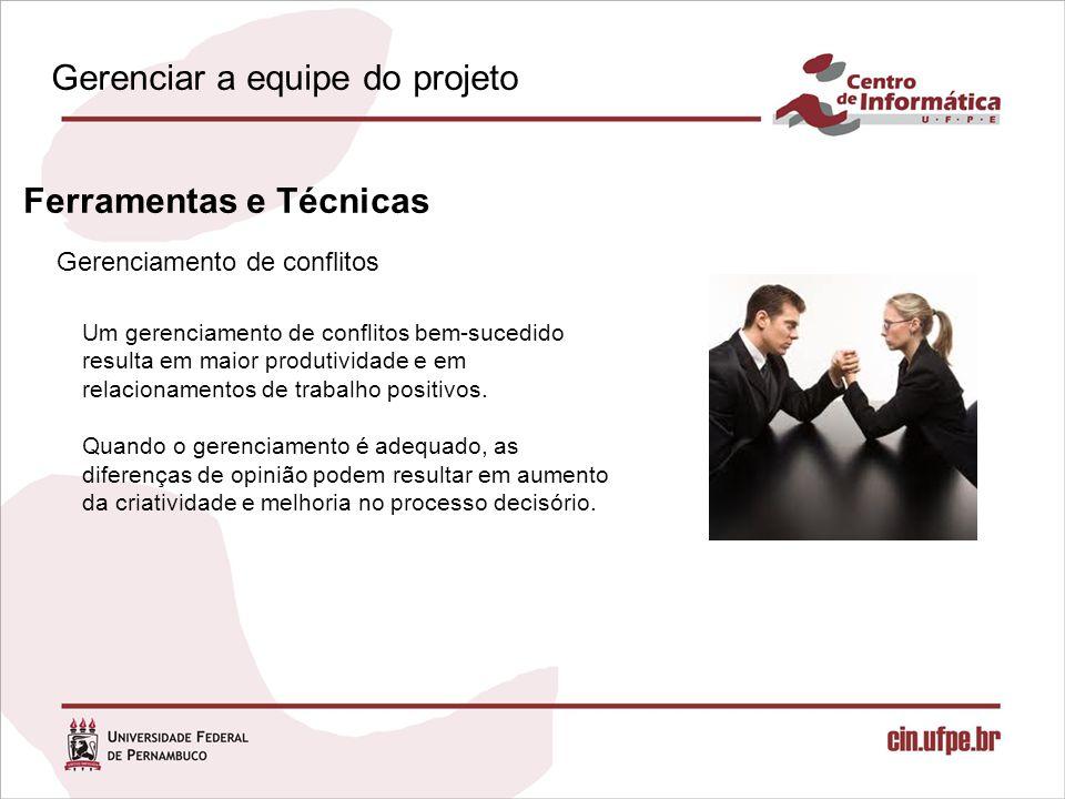 Gerenciamento de conflitos Ferramentas e Técnicas Um gerenciamento de conflitos bem-sucedido resulta em maior produtividade e em relacionamentos de trabalho positivos.