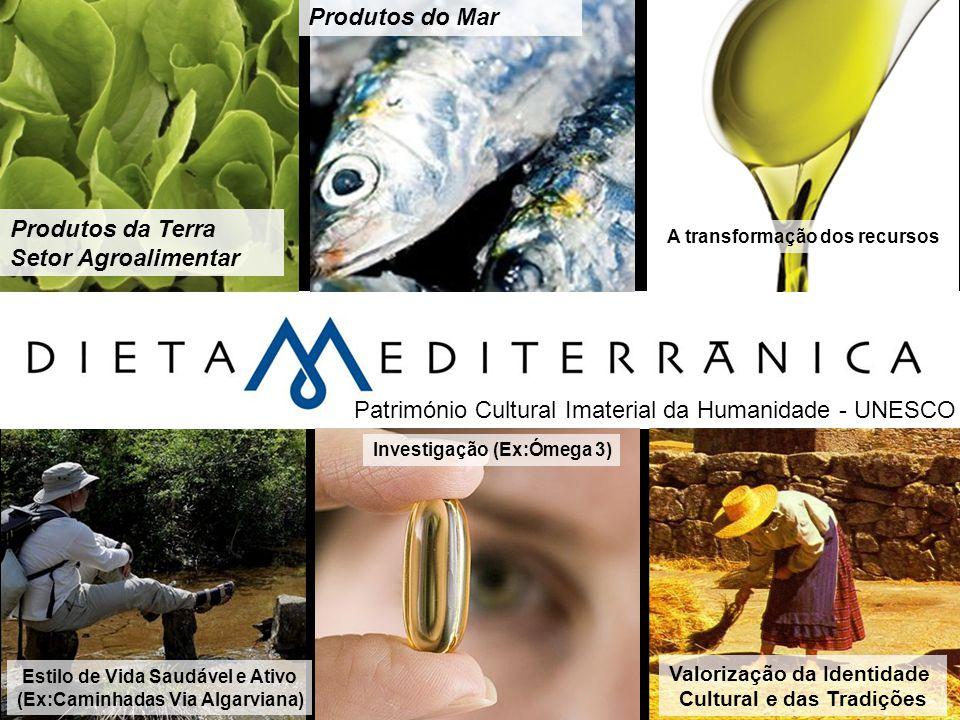 Produtos da Terra Setor Agroalimentar Produtos do Mar A transformação dos recursos Estilo de Vida Saudável e Ativo (Ex:Caminhadas Via Algarviana) Inve