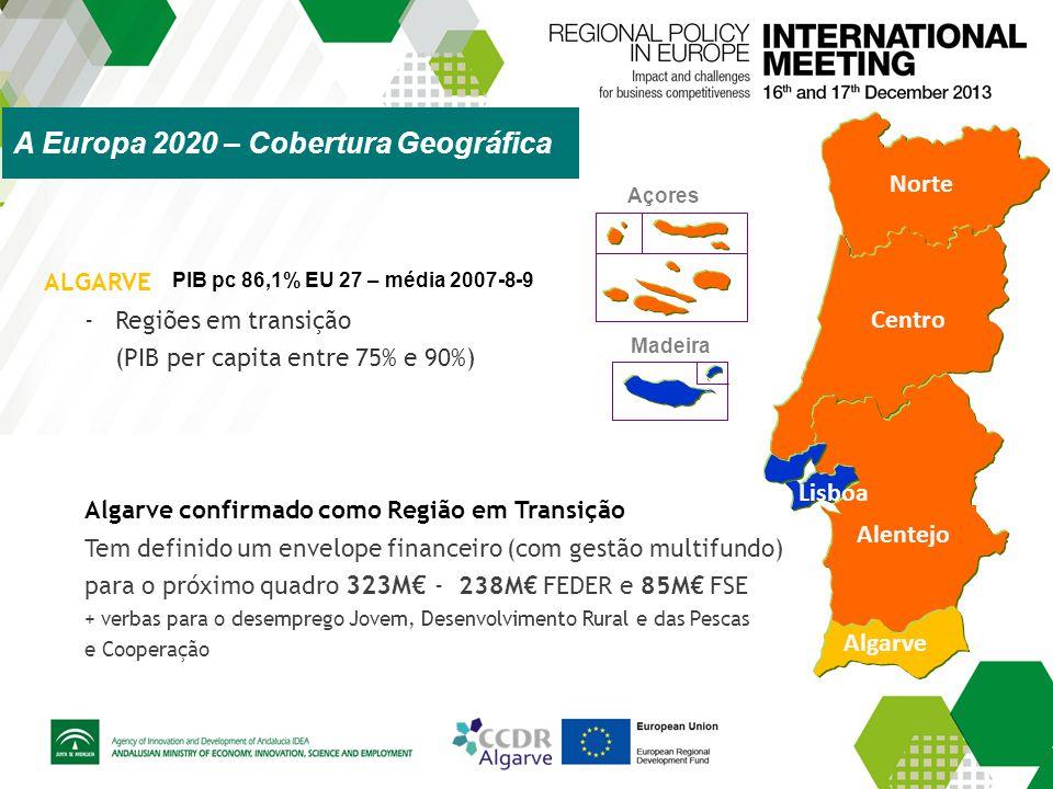 Norte Centro Alentejo Algarve Madeira Açores Lisboa ALGARVE -Regiões em transição (PIB per capita entre 75% e 90%) Algarve confirmado como Região em T