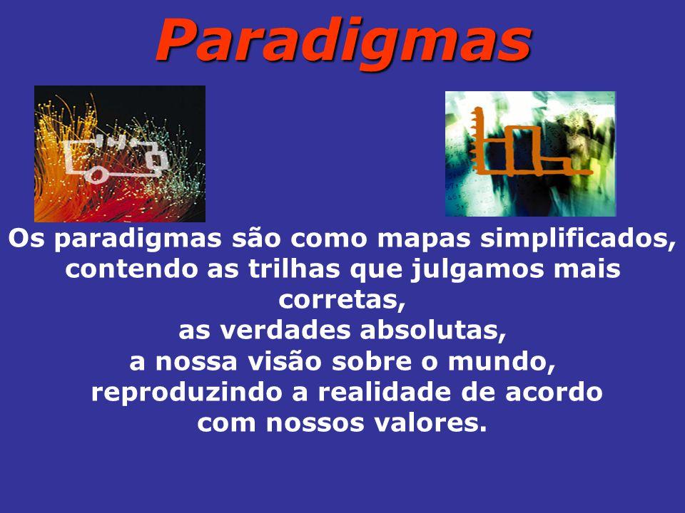 Paradigmas Os paradigmas são como mapas simplificados, contendo as trilhas que julgamos mais corretas, as verdades absolutas, a nossa visão sobre o mundo, reproduzindo a realidade de acordo com nossos valores.