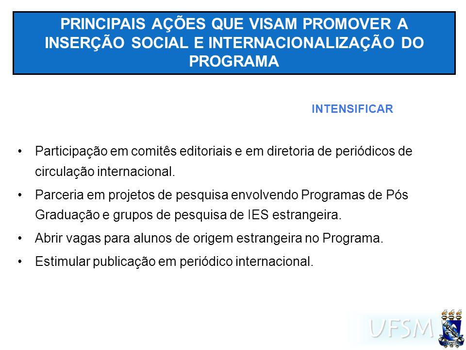 UFSM PRINCIPAIS AÇÕES QUE VISAM PROMOVER A INSERÇÃO SOCIAL E INTERNACIONALIZAÇÃO DO PROGRAMA Participação em comitês editoriais e em diretoria de periódicos de circulação internacional.