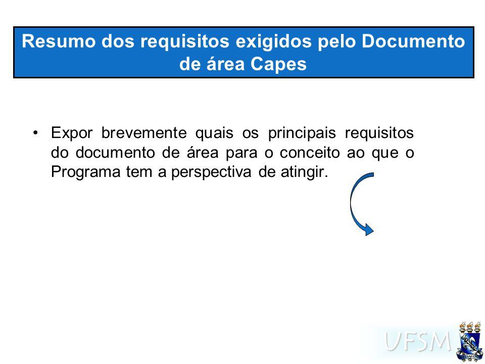 UFSM Resumo dos requisitos exigidos pelo Documento de área Capes Expor brevemente quais os principais requisitos do documento de área para o conceito ao que o Programa tem a perspectiva de atingir.