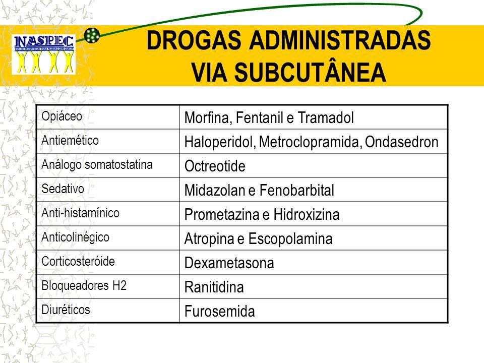 DROGAS ADMINISTRADAS VIA SUBCUTÂNEA Opiáceo Morfina, Fentanil e Tramadol Antiemético Haloperidol, Metroclopramida, Ondasedron Análogo somatostatina Oc