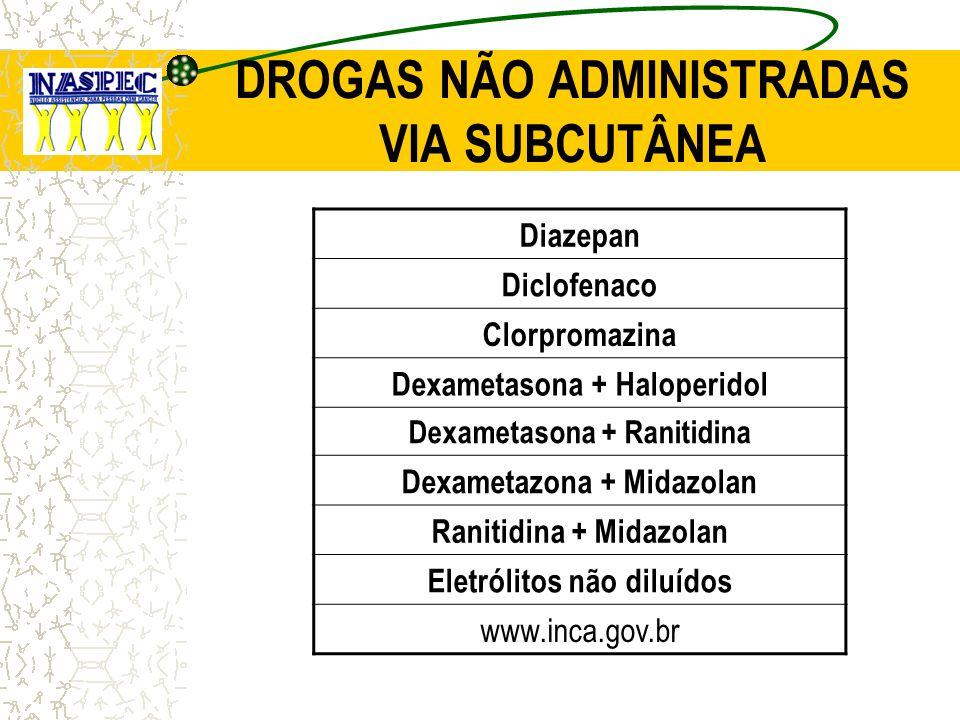 DROGAS NÃO ADMINISTRADAS VIA SUBCUTÂNEA Diazepan Diclofenaco Clorpromazina Dexametasona + Haloperidol Dexametasona + Ranitidina Dexametazona + Midazol