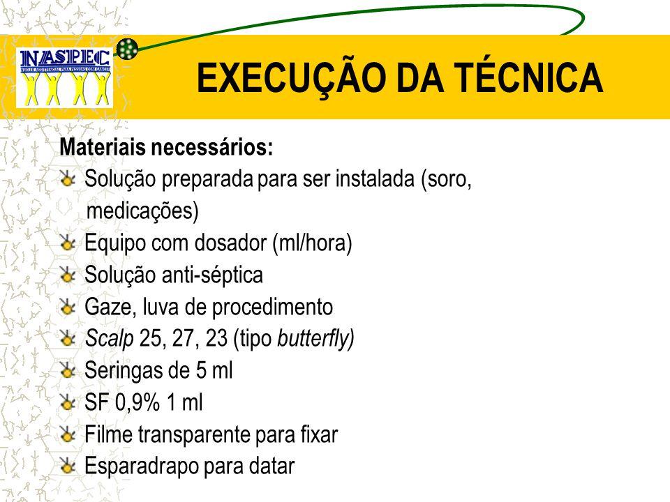 EXECUÇÃO DA TÉCNICA Materiais necessários: Solução preparada para ser instalada (soro, medicações) Equipo com dosador (ml/hora) Solução anti-séptica G
