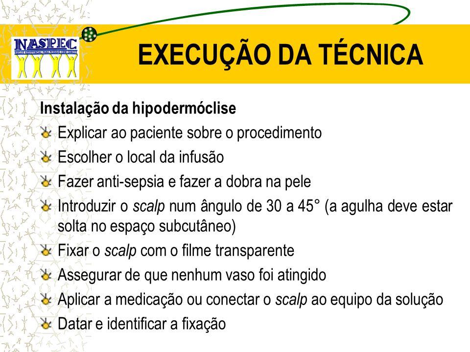 EXECUÇÃO DA TÉCNICA Instalação da hipodermóclise Explicar ao paciente sobre o procedimento Escolher o local da infusão Fazer anti-sepsia e fazer a dob