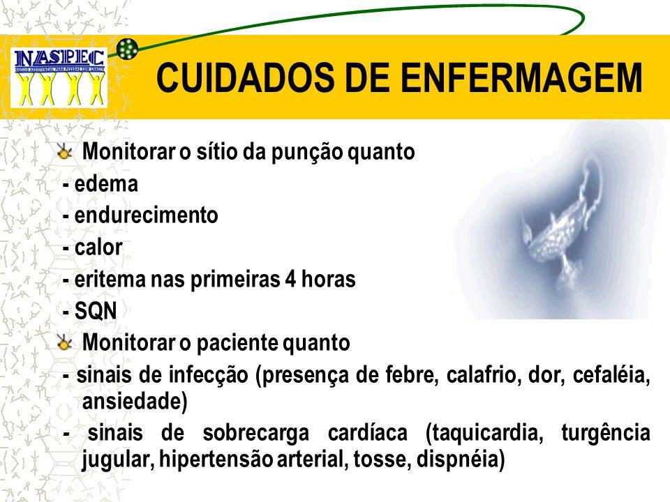 CUIDADOS DE ENFERMAGEM Monitorar o sítio da punção quanto - edema - endurecimento - calor - eritema nas primeiras 4 horas - SQN Monitorar o paciente q